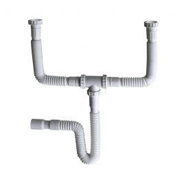 Cespol doble tarja  con acordeón y canal PVC.